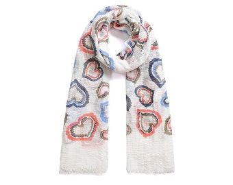 Multi Coloured Heart Print Long Scarf SC2014j