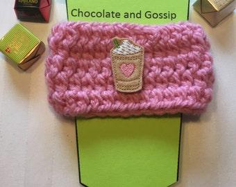 Pink Heart Latte Coffee Cozy, Drink Cozy