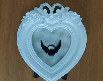 Small beard cross stitch, white vintage frame.