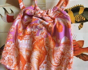 Crazy Little Fish classic 0-6 month baby swimsuit in Manuel Canovas lycra pink and orange jungle print.