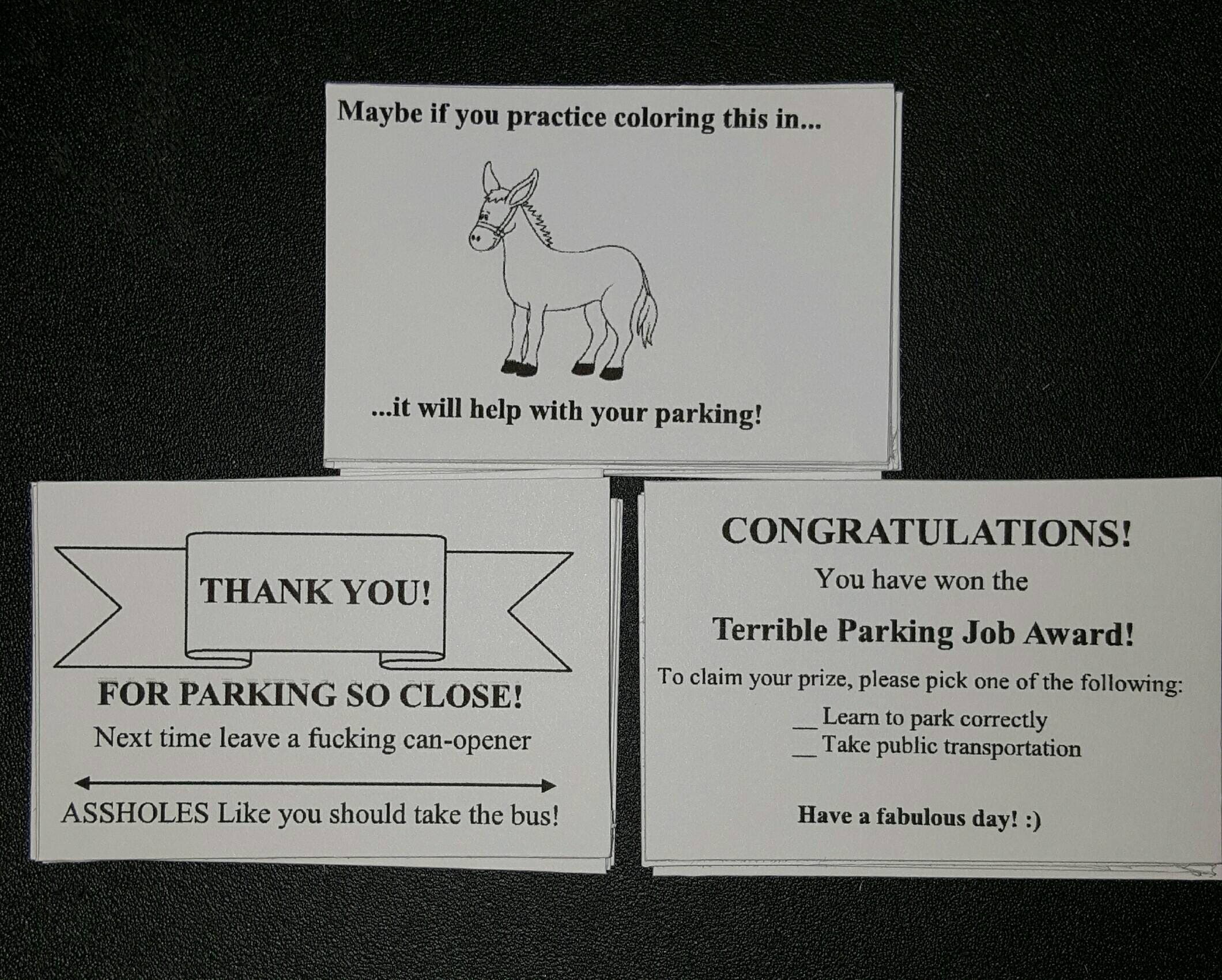 Bad parking business cards unlimitedgamers funny bad parking card gag gift business cards business colourmoves