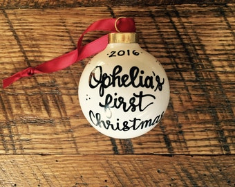 Personalized Christmas Ornaments - White Ceramic Ball