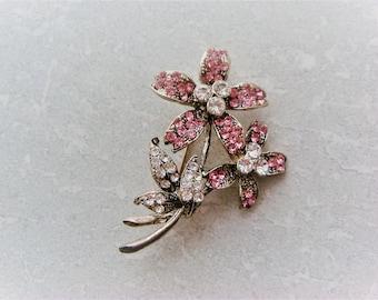 Vintage Pink & Clear Rhinestone  Flower Brooch