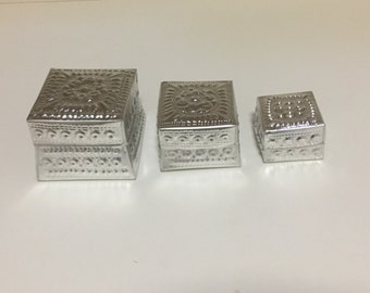 Set of 3 Hand Pressed Aluminium Boxes Bomboniere, gift box, trinket, etc