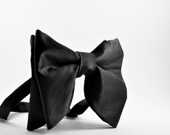 Mens Bow ties Big bow tie Groom Bow Tie Oversized bow tie Large BowTie Wedding BowTie Butterfly Bow Tie Black Bow tie Tom Ford bowtie