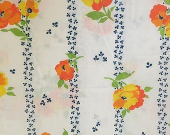 Twin Flat Sheet / Orange & Yellow Pansies