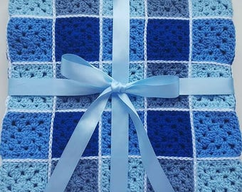 """Gingham Crochet Baby Blanket - """"Little Boy Blue"""""""