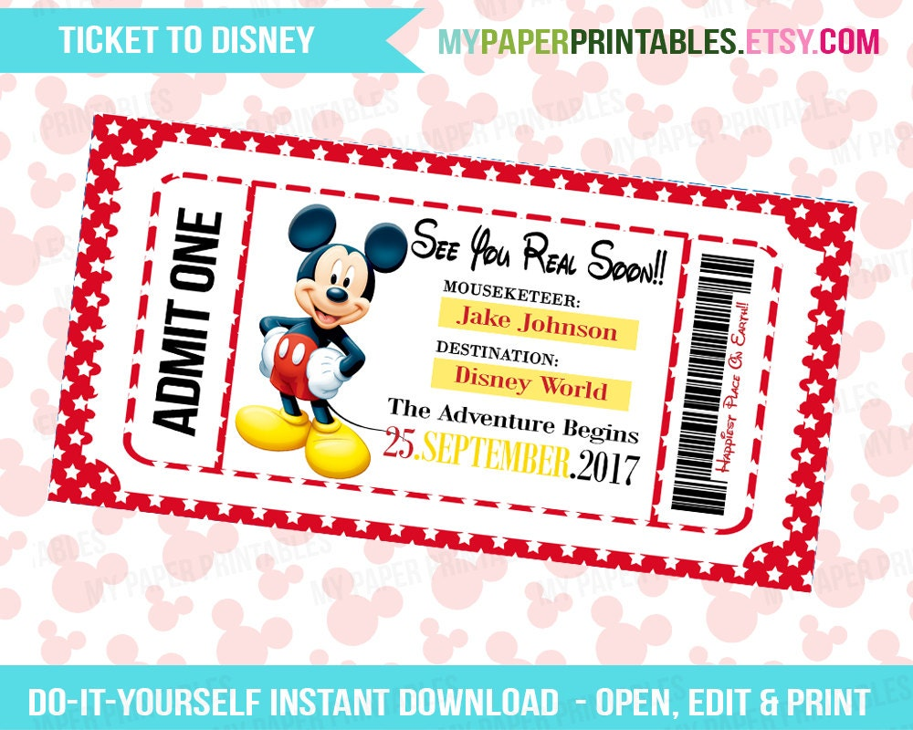 Sweet image intended for printable disney tickets