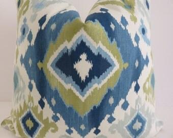 Decorative Pillow Cover, Ikat Blue Cream Pillow Cover, Ikat Blue Pillow, Blue Green Pillow Cover, Pillow Cover, Cream Pillow