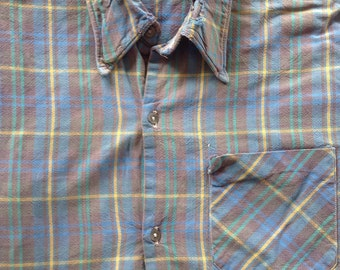 Vintage shirt shirt size M / L, grandfather, work, ancient, the co-op blue, old fabric, made in france
