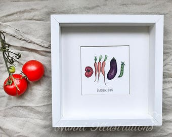 Watercolor Veggies-I GROW MY OWN Art