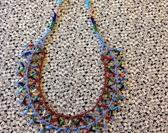 Vintage Multicolored Beaded Choker, Handmade