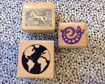 Vintage Wood Backed Rubber Stamps, Globe, Uruguay Stamp, Gekko