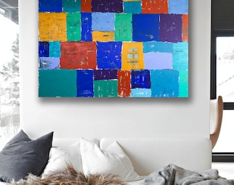 Vintage-Style Patchwork, Original Abstract Acrylic Painting