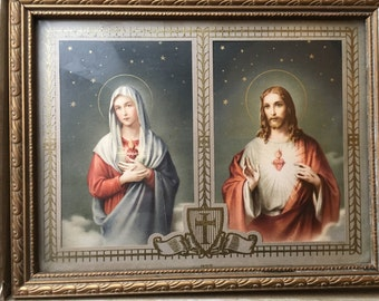 Vintage 1940's Framed and Matted Print of Mary and Jesus