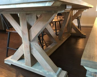 Farmhouse Dining Table // Knotty Alder // Rustic // RH Inspired // X Style