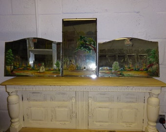 3 Hand painted Mirror's/Vintage/1930'S/1940's