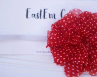 SET OF TWO- Pom HeadBand - Baby Bow - Baby Headband - Valentines headband - Valentines bow