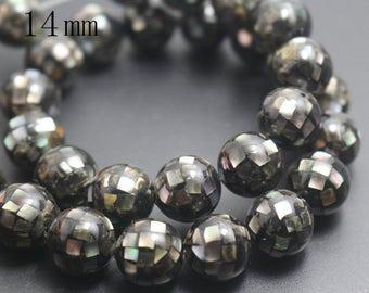 14mm Natural Black Abalone Mosaic Round Beads