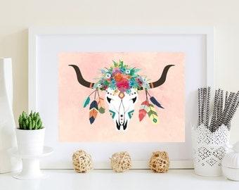 Pink teal deer art, Pink aqua deer art, Boho deer art, Aqua boho art, Boho Floral art, Floral deer skull, flower deer skull, pink art