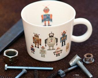 Husband Mug, Fathers Day Mug, Dad Cup, Robot Mug, Gift For Him, , Porcelain Coffee Mug, Ceramic Tea Cup, Custom Pottery, Personalized Cup