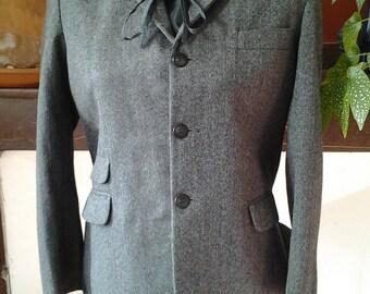 SALE !!! FRENCH VINTAGE women's woollen jacket - fine herringbone pattern