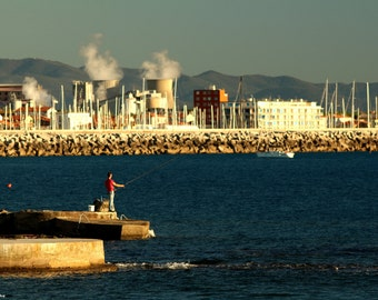 Fishing between factories - Sea Photo - Tuscany Photo - Fishing Photo - Art Photo - Factories Photo - Photography -