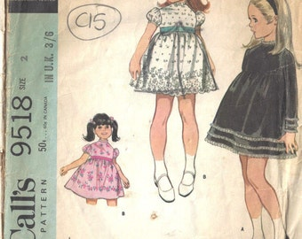 1968 Childrens Vintage Sewing Pattern S2 B21 DRESS (C15)