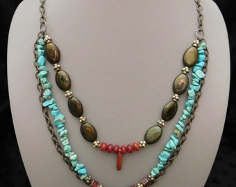 "24"" Turquoise , Red Agate, Red Glass Bead, Antique Bronze Chain, Multi-Strand Boho Nacklace"