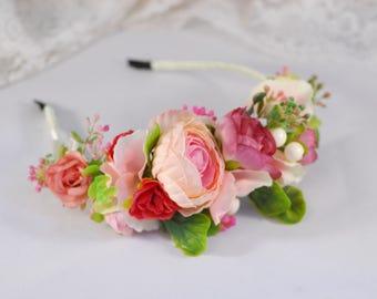 Burgundy flower Red flower Flower halo Bridal Crown Woodland wedding Wedding hair accessory Wedding flower crown Flower crown Floral Wreath