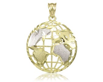 10K Solid Yellow White Gold Globe Pendant - World Map Planet Earth Necklace Charm