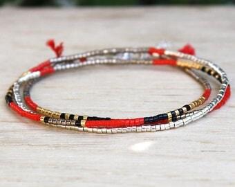 Bracelet triple towers red miyuki beads