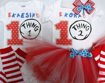 Thing 1 and Thing 2 First birthday outfits/twin outfits/Dr. Seuss tutu