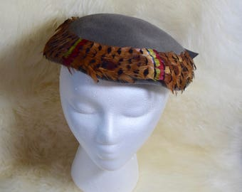 Vintage 50's Flechats Gray Velvet Hat with Feather