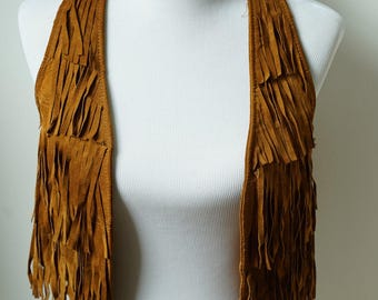 XS Brown leather fringe vest/ suede leather top/ boho music festival top