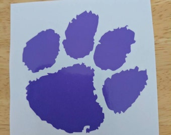 Clemson Tigers paw- vinyl decal for cups, coolers, car windows, home decor, cell phone, laptop etc
