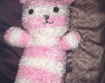 Handmade Pink & White Bunny Plushie