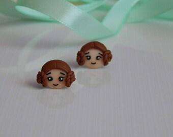 Fimo handmade earrings inspired by Princess Leia Star Wars