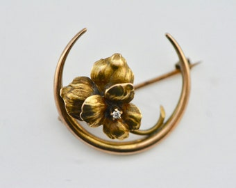 Antique Victorian 10K Honeymoon Crescent Brooch