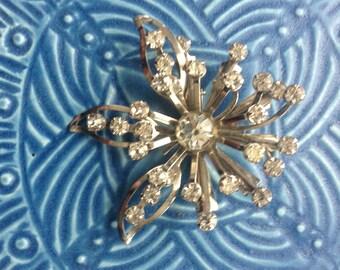 vintage brooch, rhinestone flower,  starburst brooch, rhinestone brooch