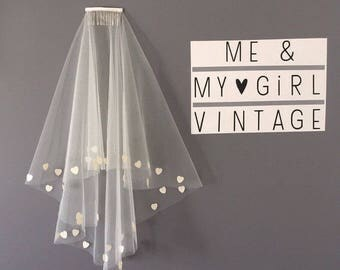 Heart Veil, Short Wedding Veil, Veil With Hearts, Short Veil, Wedding Veil Hearts, Sequin Veil, Heart Wedding Veil, Wedding Veil