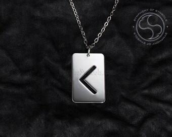 Kaunaz Rune Pendant Viking Symbol Stainless Steel Jewelry Kenaz Rune Necklace Keychain C Rune Logo K Rune Emblem Elder Futhark Talisman Sign