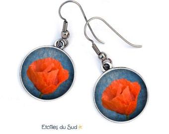 cadeau Saint Valentin boucles d'oreilles coquelicots fleurs rouges ,crochets acier chirurgical,ref.150