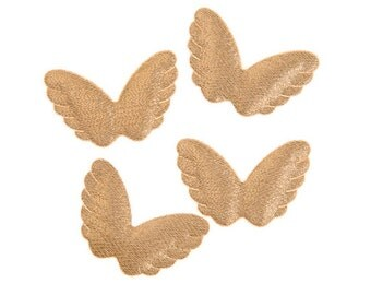 "Angel Wings, Fabric, Puffy, Gold, Set of 4 wings, Size 2 1/8"" x 1 1/2"""
