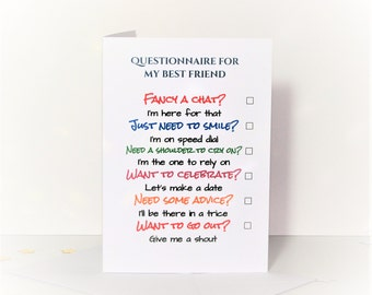 Questionnaire for my best friend card, questionnaire friend card