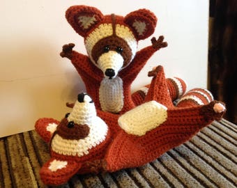 Knitted raccoon or Red Panda