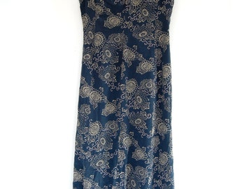 Vintage 90s J. Crew 100% Silk Blue and Tan Floral Sundress