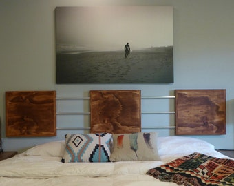 Modern Headboard/Wood Panel Headboard/Industrial Headboard/Floating Headboard/King Headboard/Bedroom Furniture/Custom Headboard