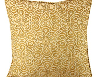 Gold Damask Decorative 20 Inch Pillow