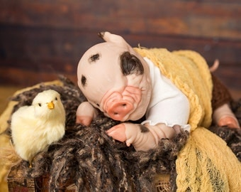 Reborn Baby Piglet Penny/ READY TO SHIP/Perfect for Christmas!